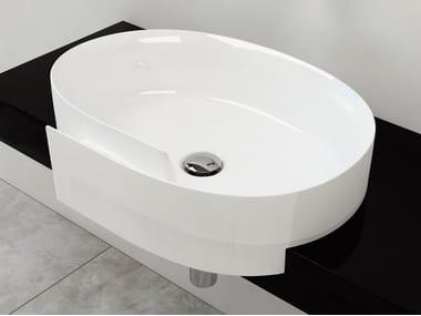 Semi-inset ceramic washbasin ROLL 56 | Semi-inset washbasin