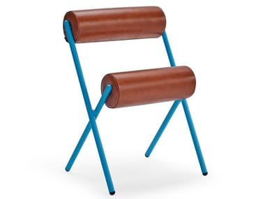 Stackable leather and steel chair ROLL