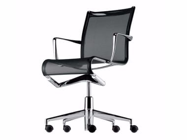 Height-adjustable swivel office chair with armrests ROLLINGFRAME - 434