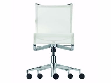 Height-adjustable mesh task chair with 5-Spoke base with casters ROLLINGFRAME+ LOW TILT - 442