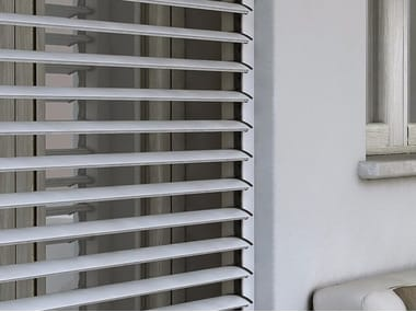 Motorized aluminium roller shutter with adjustable slats ROLLTEK