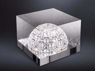 Square crystal coffee table with light ROMA