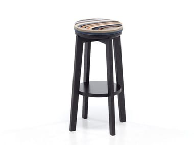 High oak stool with footrest ROND 06