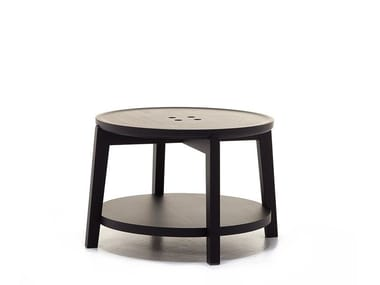 Round coffee table with integrated magazine rack ROND T02