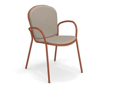 Upholstered fabric and steel garden chair with armrests RONDA XS | Chair with armrests