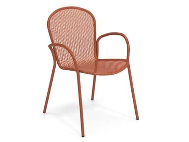 Steel garden chair with armrests RONDA XS | Garden chair