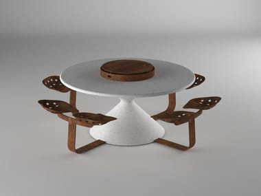 Round Table for public areas with integrated seats RONDO'