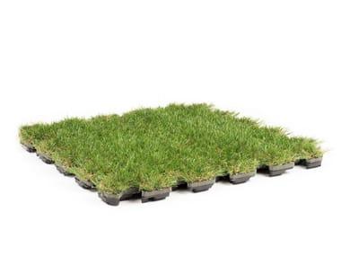Pavimento modulare drenante con finitura in erba sintetica ROOFINGREEN LEAF