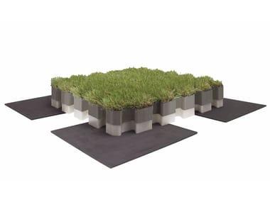 Pavimento modulare antishock con finitura in erba sintetica ROOFINGREEN NATURE ANTISHOCK
