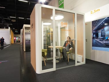 Acoustic wood and glass office booth ROOM BOX