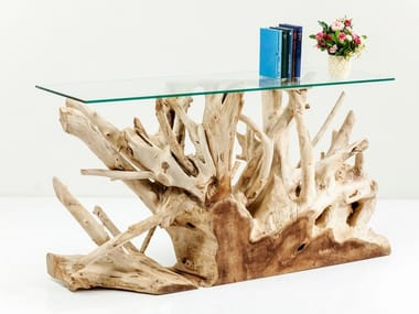 Rectangular wood and glass console table ROOTS