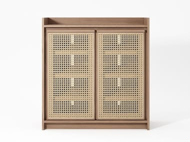 Solid wood and rattan shoe cabinet ROOTS | Shoe cabinet