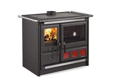 Cucina a legna con rivestimento in acciaio porcellanato ROSA XXL