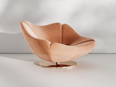 Swivel upholstered fabric armchair ROSE GOLD