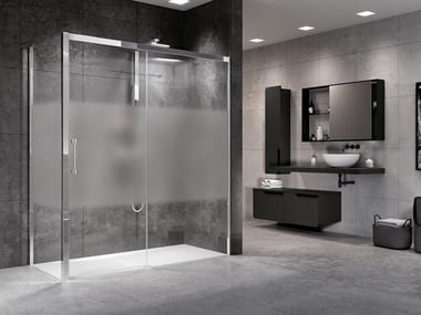 Box doccia angolare con porta scorrevole ROSE ROSSE 2P