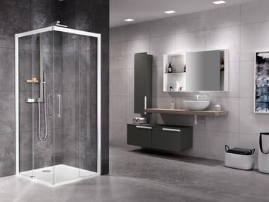 Box doccia angolare con porta scorrevole ROSE ROSSE   A