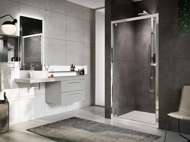 Box doccia angolare con porta pivotante ROSE ROSSE G