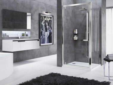 Box doccia angolare con porta a battente ROSE ROSSE | G + F