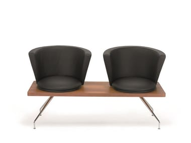 Leather beam seating with armrests .ROSSI R2