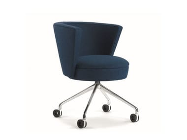 Upholstered chair with castors .ROSSI RAR