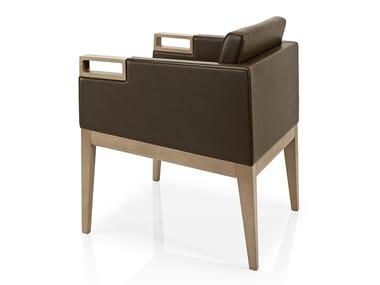 Cadeira lounge de pele com braços ROVEN | Cadeira lounge