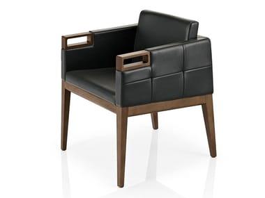 Cadeira lounge de pele com braços ROVEN | Cadeira lounge com braços