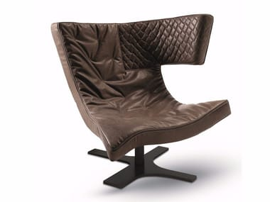 Leather armchair with 4-spoke base ROXY | Armchair with 4-spoke base
