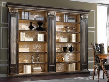 Open wall-mounted lacquered solid wood bookcase ROYAL | Bookcase