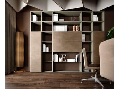 Open tall freestanding wooden office shelving RUBIK | Modular office shelving