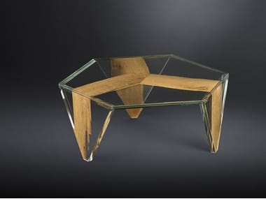 Low hexagonal wood and glass coffee table RUCHE VENEZIA