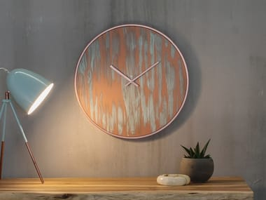 Wall-mounted wooden clock RUST COPPER