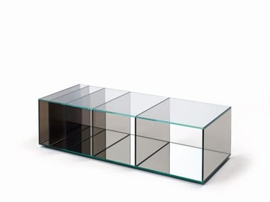Rectangular crystal coffee table with storage space DEEP SEA | Rectangular coffee table