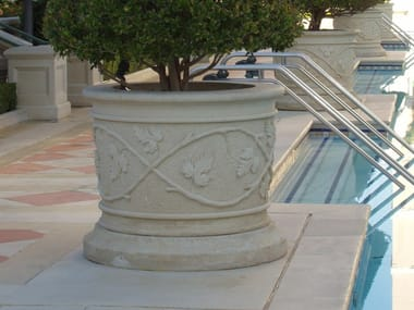 Jardinera redonda de piedra de Lecce Jardinera redonda