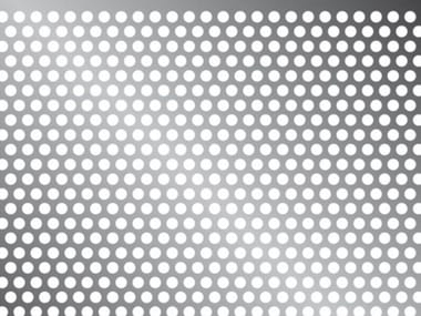 Perforated and embossed sheet for facade Round holes