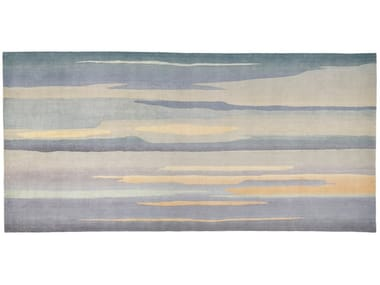 Hand knotted graded wool and silk rug SKYSCAPE