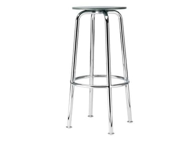 High steel and wood stool S 42 H