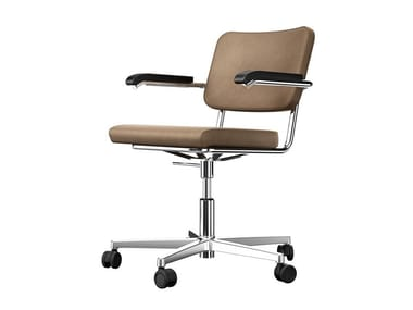 Upholstered leather chair with 5-spoke base with armrests S 64 PVDR