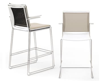 High stool with armrests with back S'MESH PLASTIC | Stool with armrests