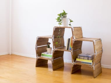 Open wooden bookcase S3