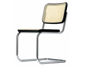Cantilever chair with seat and backrest in cane work S32 | Cantilever chair