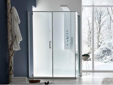 Box doccia angolare in vetro con porta pivotante S6 | Box doccia angolare