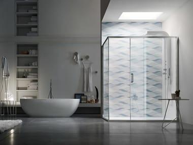 Box doccia angolare in vetro con porta scorrevole S6 | Box doccia con porta scorrevole