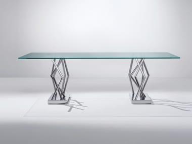 Tavolo rettangolare in acciaio e cristallo SA07