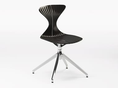 Swivel trestle-based technopolymer and metal chair SABLIER | Swivel chair