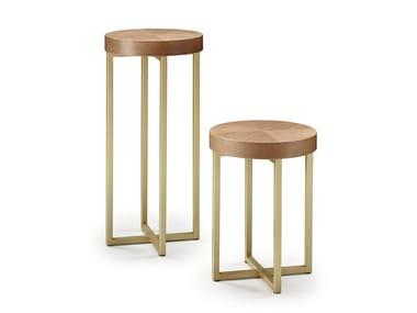 Tavolino alto rotondo in legno SALÒ | Tavolino rotondo