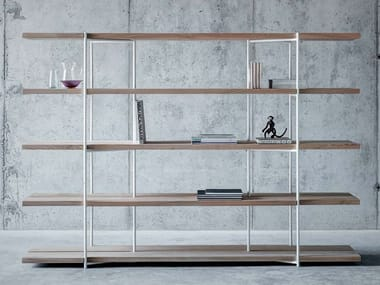 Open freestanding double-sided solid wood bookcase SAMEDAN