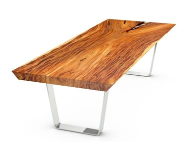 Suar wood table and black painted steel frame SAN REMO