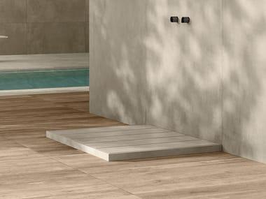 Rectangular porcelain stoneware shower tray SAP