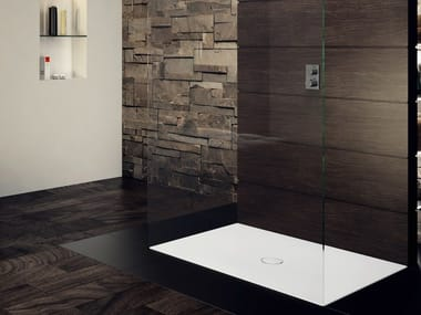 Flush fitting rectangular enamelled steel shower tray SCONA