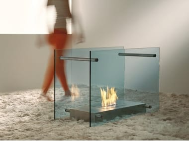 Freestanding bioethanol glass and steel fireplace SCREEN